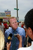 Council Member Kevin Faulconer speaks to the media afer he spoke at a joint press conference with Council President Scott Peters in Mission Beach Tuesday, July 22rd 2008.  Faulconer and Peters were there to announce that they will bring a proposal to put the ban on the November Ballot before the council at the next meeting.  Residents, business owners and media attended the rally with the overwhelming majority apparently in favor of the alcohol ban.