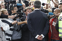 (Oslo July 23, 2011) Prime Minister Jens Stoltenberg talk to media the day after a shooting spree by a lone gunman who killed over 80 youths at a political camp. <br />