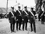 Pittsburgh PA: Homer Stewart (left) and brother Masons before the annual parade on Water Street - 1903. Wabash Railroad Bridge is in the background. Homer Stewart, Brady Stewart's father, was prominent in fraternal circles. He was a charter member of the Fort Pitt Lodge Free and Accepted Masons; Mount Moriah Council, Royal and Select Masters; 32nd degree member of the Pennsylvania Consistory, Ancient Accepted Scottish Rite, Valley of Pittsburgh; and member of the Syria Temple, Ancient Arabic Order Nobles of the Mystic Shrine.
