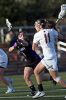 Boston College attacker Brittany Wilton (11) on the attack. University at Albany defeated Boston College, 11-10, at Newton Campus Field, on March 30, 2011.