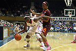 15 February 2012: Duke's Elizabeth Williams (1) is defended by Virginia Tech's LaTorri Hines-Allen (right). The Duke University Blue Devils defeated the Virginia Tech Hokies 67-45 at Cameron Indoor Stadium in Durham, North Carolina in an NCAA Division I Women's basketball game.
