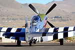"Race #12, ""The Rebel,"" a stock P-51D Mustang flown by Doug Matthews of Wellington, Florida sits on the tarmac prior to a race at the 2008 Reno National Championship Air Races at Stead Field, Nevada. Matthews, a rookie in 2008, flew the Rolls Royce Merlin powered fighter to a second place finish in the Bronze class with a speed of 350.290 MPH on the 50.12 mile course."