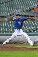 Iowa Cubs pitcher Armando Rivero (32) delivers a pitch during a Pacific Coast League game against the Colorado Springs Sky Sox on May 1st, 2016 at Principal Park in Des Moines, Iowa.  Colorado Springs defeated Iowa 4-3. (Brad Krause/Four Seam Images)