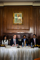 (L-R) Pallavi Sharda (OzFest ambassador), Dr. Lachlan Strahan (Australian Deputy High Commissioner to India), Maharaj Narendra Singh (Maharaj of Jaipur), and Nik Senapati (Rio Tinto Managing Director), sit together as Dr. Lachlan Strahan speaks during a press conference on Oz Fest in Raj Mahal Palace hotel, Jaipur, India on 10th January 2013. Photo by Suzanne Lee/DFAT