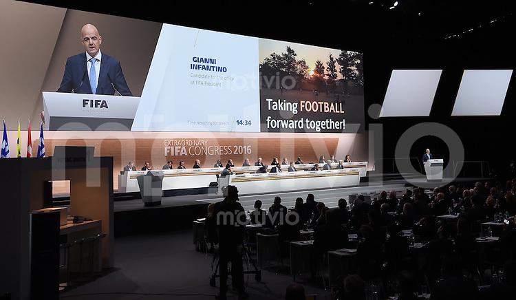 Fussball International Ausserordentlicher FIFA Kongress 2016 im Hallenstadion in Zuerich 26.02.2016 FIFA Praesidenten Kandidat und UEFA Generalsekretaer Gianni Infantino (Schweiz)