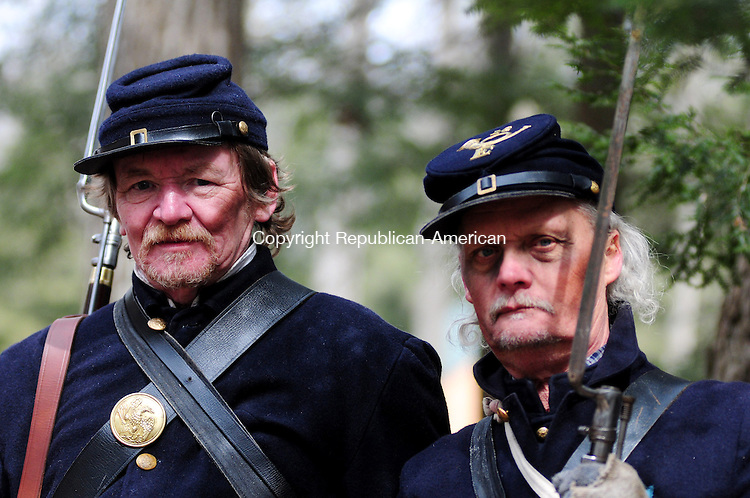 THOMASTON, CT, 16 MAR 13- 031613AJ04-Ed Zeiner, of Torrington, and Martin Spring, of Waterbury appear Saturday as Civil War soldiers while acting as extras on the set of a Redding teenager's move shot in Thomaston on Saturday. Alec Johnson/ Republican-American