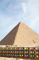 Colorful lights provide evening light shows at the Pyramids of Giza, Egpyt