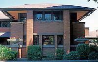 F.L. Wright: Darwin D. Martin House. South Elevation.  Photo '88.