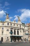 The Neo-Renaissance facade of Vinohrady Theatre in Prague, Czech Republic, Europe