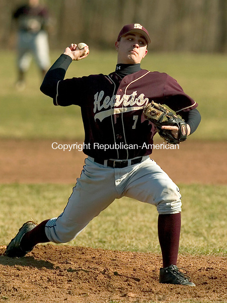 WATERBURY, CT- 02 APRIL 2008 --040208JS01--Sacred Hearts' Kyle Roque delivers a pitch during their 6-1 win over Crosby Wednesday at Crosby High School in Waterbury. <br /> Jim Shannon / Republican-American