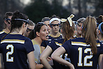 23 February 2017: Notre Dame head coach Christine Halfpenny talks to her team before the game. The Elon University Phoenix hosted the University of Notre Dame Fighting Irish at Rudd Field in Elon, North Carolina in a 2017 Division I College Women's Lacrosse match. Notre Dame won the game 16-7.