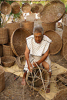 Maya basket maker at the recreation of an ancient Mayan market, Sacred Mayan Journey 2011 event, Riviera Maya, Quintana Roo, Mexico