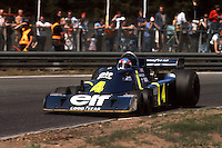 HEUSDEN-ZOLDER, BELGIUM: Patrick Depailler drives the six-wheel Tyrrell P34 4/Ford Cosworth DFV during practice for the Grand Prix of Belgium on May 16, 1976 at the Circuit Zolder near Heusden-Zolder, Belgium.