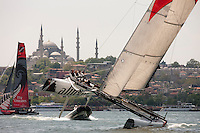 Extreme Sailing Series 2011. Act 3.Turkey . Istanbul..Alinghi skippered by Tanguy Cariou with team mates Yann Guichard, Nils Frei and Yves Detrey