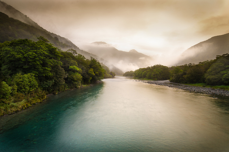Misty evening at Haast River, South Westland, South Island, New Zealand - stock photo, canvas, fine art print