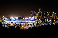 07/26/11 Los Angeles, CA: Night View of Dodger Stadium with Downtown Los Angeles in the background from atop Elysian Park during the Colorado Rockies Los Angeles Dodgers baseball game