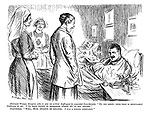 "Eminent Woman Surgeon, who is also an ardent Suffragist (to wounded Guardsman). ""Do you know, your face is singularly familiar to me. I've been trying to remember where we've met before."" Guardsman. ""Well, Mum, bygones be bygones. I was a police constable."""