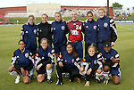 18 June 2004: The starting lineup for the Atlanta Beat featuring guest players from the Carolina Courage. Front row (l to r): Maribel Dominguez, Brooke O'Hanley, Tiffany Roberts, Kylie Bivens, Charmaine Hooper. Back row (l to r): Leslie Gaston, Nancy Augustyniak, Kristen Warren, Melanie Wilson, Sharolta Nonen, Cindy Parlow. The Atlanta Beat tied the New York Power 2-2 at the National Sports Center in Blaine, MN in Womens United Soccer Association soccer game featuring guest players from other teams.