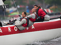Extreme Sailing Series 2011. Act 3.Turkey . Istanbul.Luna Rossa skippered by Max Sirena with teammates Paul Campbell James, Alister Richardson and Manuel Modena.Credit Lloyd Images