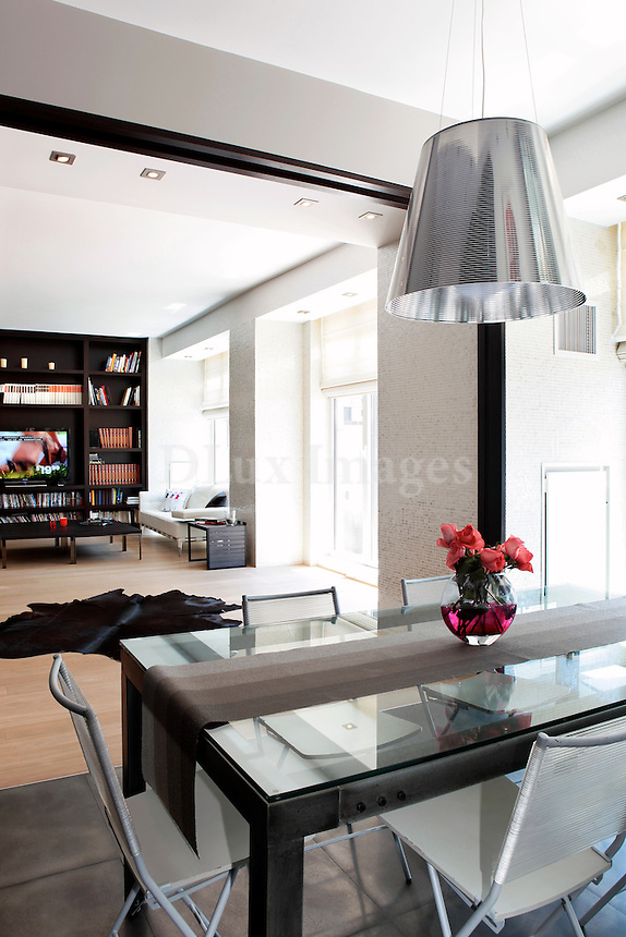 contemporary living room with dining area