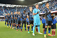 San Jose, CA - Saturday May 06, 2017: San Jose Earthquakes Starting Eleven prior to a Major League Soccer (MLS) match between the San Jose Earthquakes and the Portland Timbers at Avaya Stadium.