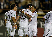 DC United teammates celebrate with Dwayne De Rosario after Rosario scored a goal during the game against the Earthquakes at Buck Shaw Stadium in Santa Clara, California on July 30th, 2011.   DC United defeated San Jose Earthquakes, 2-0.