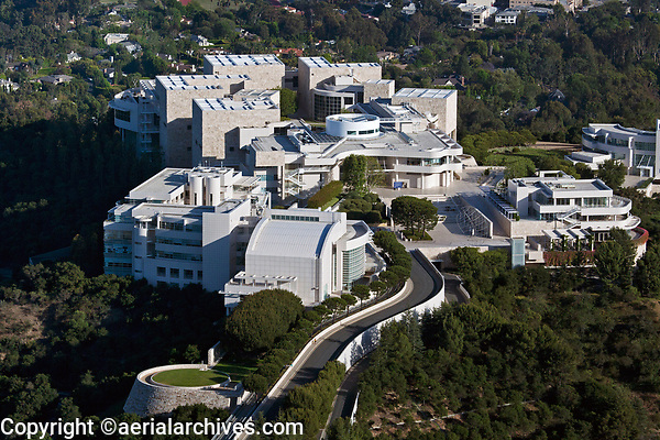 aerial photograph J. Paul Getty Museum, Brentwood, Los Angeles, California