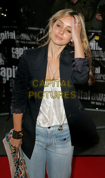 LOUISE REDKNAPP .Capital Radio Awards at the Riverbank Park Plaza Hotel, London, England,  March 20th 2008.half length black blazer jacket jeans hand on head hair .CAP/ROS.©Steve Ross/Capital Pictures