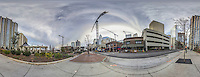 Construction cranes tower over skyline buildings, 360 degree panoramic view, near downtown, Charlotte, NC, December  2015.  (photo by Brian Cleary/www.bcpix.com)