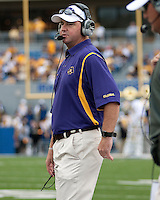 East Carolina head coach Skip Holtz. The WVU Mountaineers defeated the East Carolina Pirates 35-20 at Mountaineer Field at Milan Puskar Stadium, Morgantown, West Virginia on September 12, 2009.