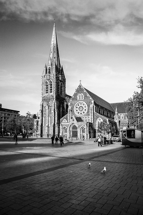 Christchurch Cathedral, Black and White, Cathedral Square, Christchurch, New Zealand - stock photo, canvas, fine art print