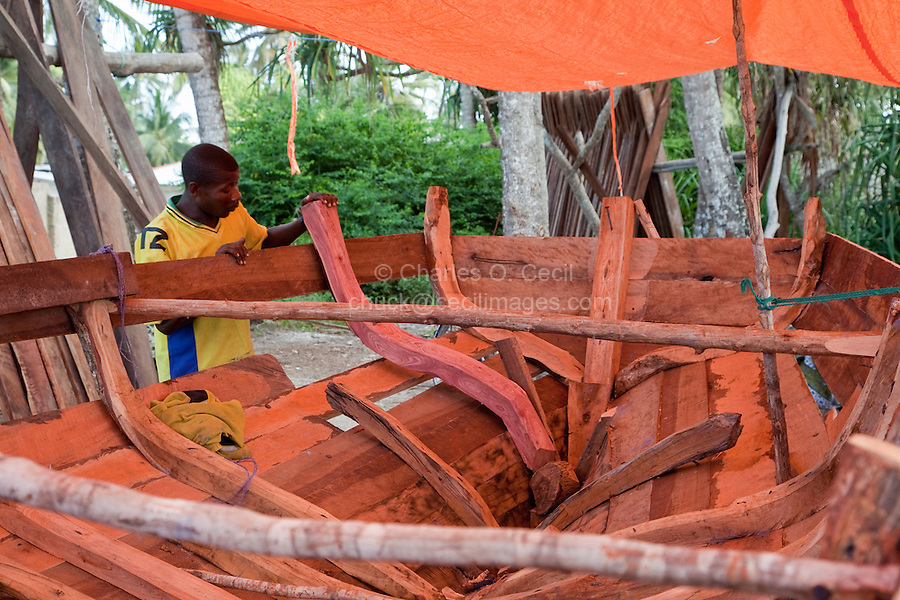 Nungwi, Zanzibar, Tanzania.  Dhow Construction.  Internal ribs in place to support the planks of the hull.
