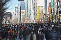 "January 23, 2011, Tokyo, Japan - Shoppers and tourists flood the 570-meter stretch of Akihabara's main street as reopened ""Pedestrian Paradise"" reopens in Tokyo's electronics district on Sunday, January 23, 2011. A record crowd of about 100,000 shoppers and tourists returned to Akihabara as the pedestrian-only shopping zone reopened for the first time in two years and seven months after the 2008 stabbing rampage that left seven dead and 10 others injured. (Photo by Natsuki Sakai/AFLO) [3615] -mis-"