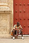 Street seller, Cartagena de Indias, Bolivar Department, Colombia, South America.