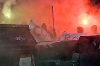 Roma  14 Novembre 2014<br /> Manifestazione degli antifascisti  per protestare contro i fascisti di CasaPound e  Mario Borghezio europarlamentare della Lega Nord, che al Quartiere  Fidene manifestano contro gli immigrati. Manifestanti rovesciano i cassonetti in mezzo alla strada<br /> Rome November 14, 2014<br /> Demonstration of the anti-fascist protest against the fascists CasaPound and the Northern League MEP Mario Borghezio,that protest against immigrants at neighborhood Fidene. Protesters spill the bins in the street