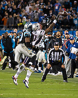 The Carolina Panthers play the New England Patriots at Bank of America Stadium in Charlotte North Carolina on Monday Night Football.  The Panthers defeated the Patriots 24-20.  New England Patriots wide receiver Aaron Dobson (17), Carolina Panthers cornerback Melvin White (23)