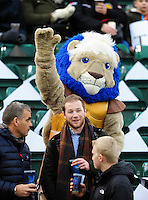 Bath Rugby mascot Maximus waves from the East Stand. Aviva Premiership match, between Bath Rugby and Exeter Chiefs on December 31, 2016 at the Recreation Ground in Bath, England. Photo by: Patrick Khachfe / Onside Images