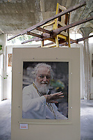 Photograph of Edward James in the Edward James Museum  in Xilitla, San Luis Potosi state, Mexico. Litter was used to carry Edward James around Las Pozas.