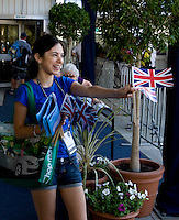 Union Jacks being handed out to the crowd in advance of the  the Group B match bewteen Great Britain and Russia. Elena Dementieva (RUS) beat Laura Robson (GBR) 6-4 6-0 and Andy Murray (GBR) beat .Igor Andreev (RUS) 6-1 6-0..International Tennis - Hyundai Hopman Cup XXII - Fri 08 Jan 2010 - Burswood Dome - Perth - Australia ..© Frey - AMN Images, 1st Floor Barry House, 20-22 Worple Road, London, SW19 4DH