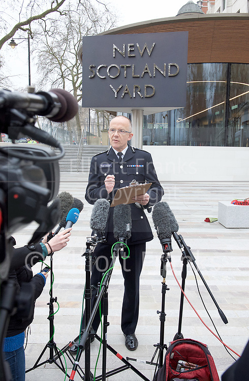 Mark Rowley<br /> (Assistant Commissioner for Specialist Operations in the Metropolitan Police Service) holds a press conference outside New Scotland Yard, London, Great Britain <br /> 24th March 2017 <br /> <br /> Acting Deputy Commissioner Mark Rowley gives a statement /  update on the ongoing counter terrorism investigation following the Westminster Terrorist attack. <br /> <br /> Photograph by Elliott Franks <br /> Image licensed to Elliott Franks Photography Services