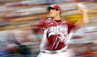 June 17, 2009; Omaha, NE, USA; Arkansas Razorbacks pitcher Drew Smyly (33) pitches against the Virginia Cavaliers in game nine of the College World Series at Rosenblatt Stadium. Arkansas defeated Virginia 4-3 in 12 innings.