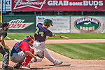 8 July 2014: Vermont Lake Monsters outfielder Scott Masik drives in the game winning run with a walk-off RBI double, scoring Ben McQuown and Joe Bennie, in a game against the Lowell Spinners at Centennial Field in Burlington, Vermont. The Lake Monsters rallied with two runs in the 9th to defeat the Spinners 5-4 in NY Penn League action. Mandatory Credit: Ed Wolfstein Photo *** RAW Image File Available ****