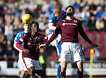 Hearts v St Johnstone&hellip;19.03.16  Tynecastle, Edinburgh<br />Brian Easton beats Juanma Delgado to the ball<br />Picture by Graeme Hart.<br />Copyright Perthshire Picture Agency<br />Tel: 01738 623350  Mobile: 07990 594431