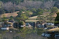 View over the ornamental lake at the 17th century Suizen-ji garden, Kumamoto, Japan