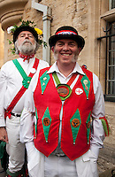 Traditionally dressed Morris dancers celebrate May Morning in Oxford.