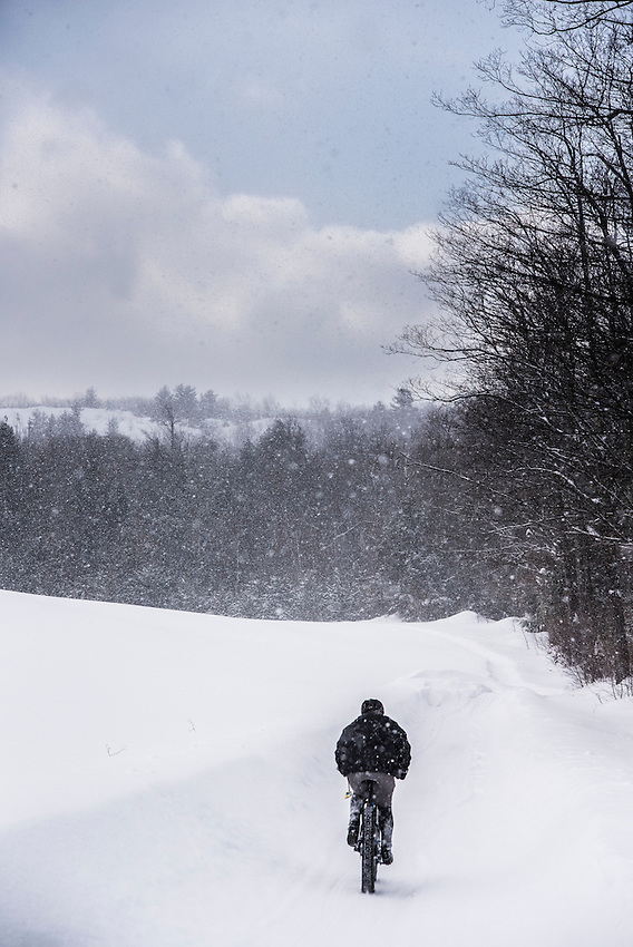 Scenes along the course of the 906 Polar Roll winter fat bike race in Marquette, Michigan.