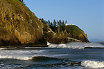 Cape Disappointment Lighthouse situated at the opening to the Columbia River along the Pacific ocean Washington State southern coastline, USA