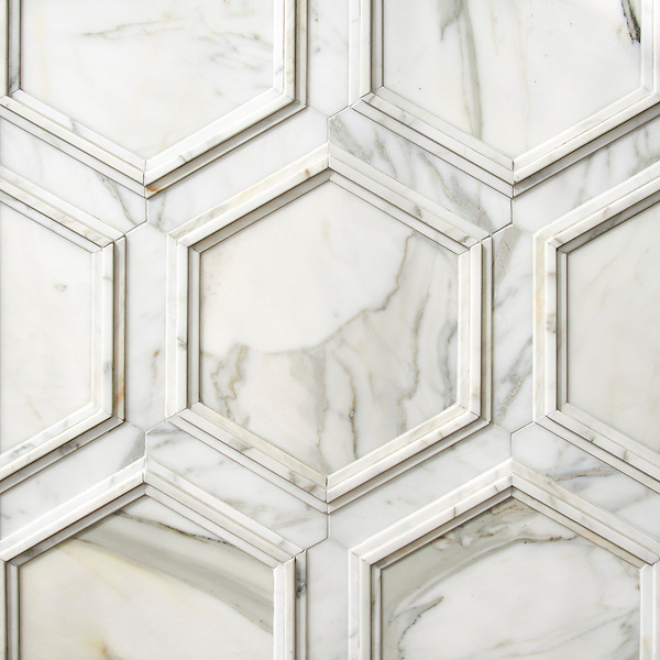 Coliseum, a stone waterjet mosaic, shown in honed Calacatta and Venetian honed Calacatta, is part of the Altimetry Collection for New Ravenna.
