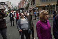 BOGOTA.COLOMBIA-FEBRUARY 19:  Residents of the neighbrohood gather to observe scene after bomb exploded in the Macarena neighborhood of Bogotá, Colombia. behind the La Santamaría bullfighting ring on February 19, 2017. Photo by VIEWpress/Stephen Ferry