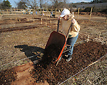 Laura Hall was among volunteers working at the Community Garden on Monday, January 18, 2010.
